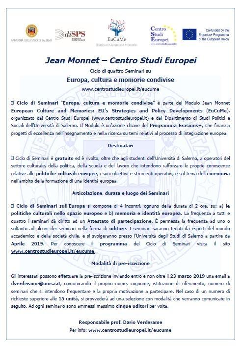 Iscrizioni società civile Seminari EuCuMe 2018-2019
